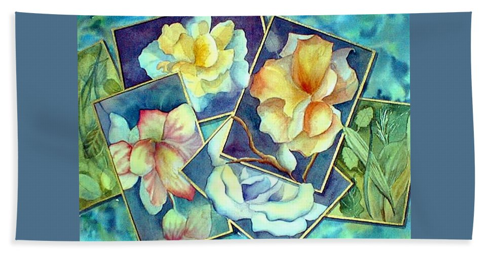 Watercolor Hand Towel featuring the painting Pictures At An Exhibition by Debbie Lewis
