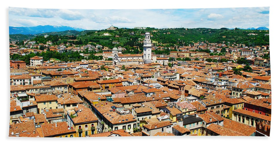 Verona Hand Towel featuring the photograph Picturesque Cityscape Of Verona Italy by Just Eclectic