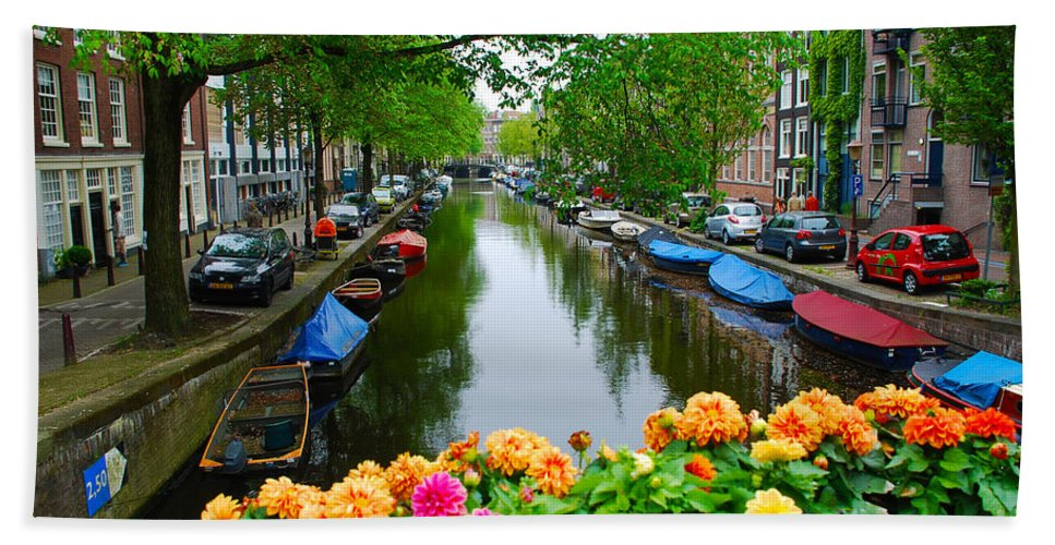 Amsterdam Hand Towel featuring the photograph Picturesque View Amsterdam Holland Canal Flowers by Just Eclectic