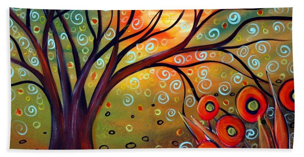 Landscape Bath Towel featuring the painting Piece Of Eden by Luiza Vizoli