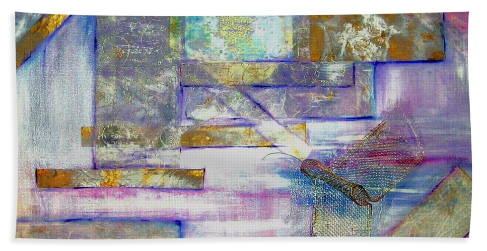 Collage Bath Towel featuring the painting Pieces Of April by Sandy Ryan