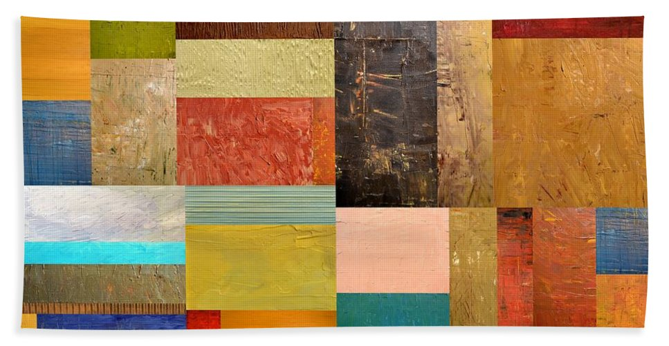 Textural Bath Sheet featuring the painting Pieces Project Lll by Michelle Calkins