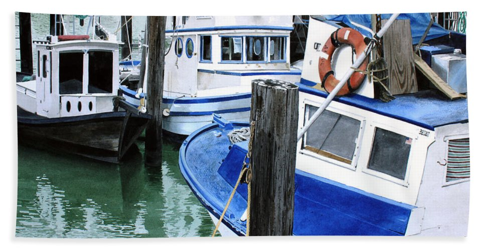 Water Scape Bath Sheet featuring the painting Pier 39 by Denny Bond