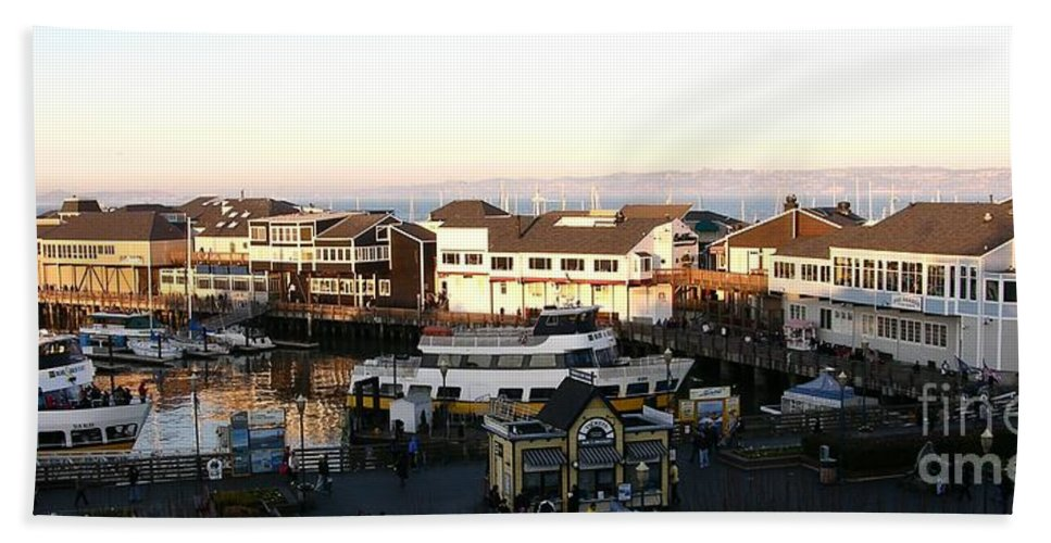 Panorama Hand Towel featuring the photograph Pier 39 Panorama by Carol Groenen