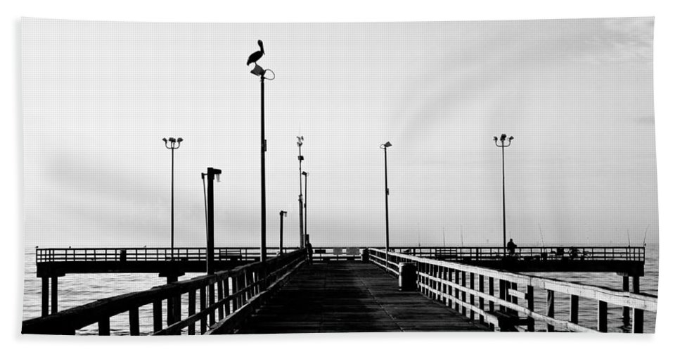 Bird Hand Towel featuring the photograph Pier And Pelican by Marilyn Hunt
