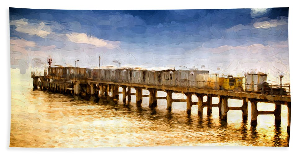 Background Bath Sheet featuring the photograph Pier At Sunset Oil Painting Photograph by John Williams