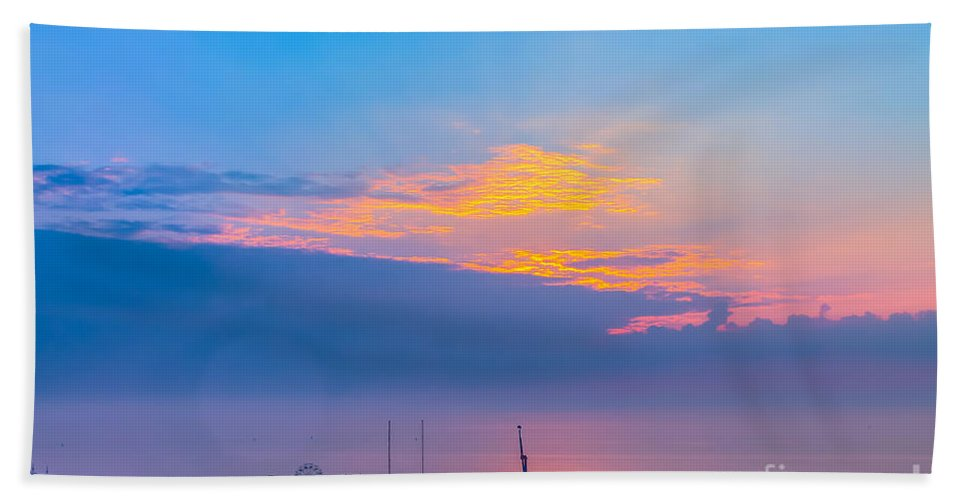 Beach Bath Sheet featuring the photograph Pier Before Sunrise by Claudia M Photography