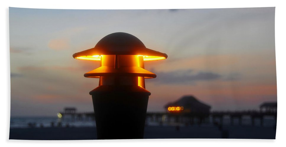 Pier Hand Towel featuring the photograph Pier Lights by David Lee Thompson
