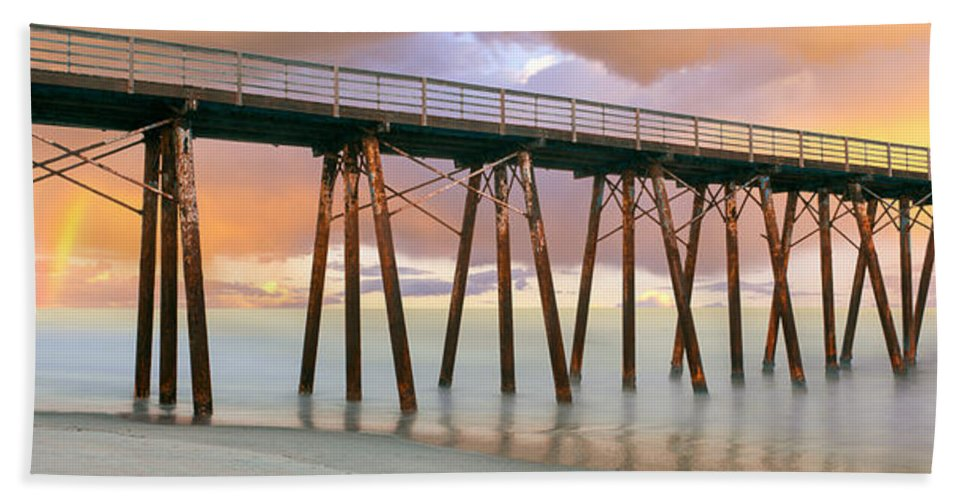 Photography Bath Sheet featuring the photograph Pier On Beach During Sunrise, Playas De by Panoramic Images