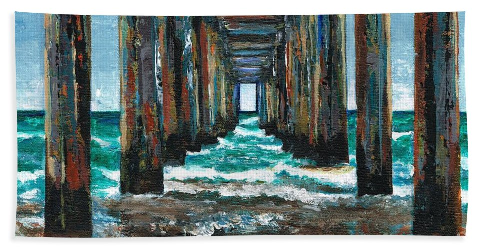 Ocean Bath Towel featuring the painting Pier One by Frances Marino