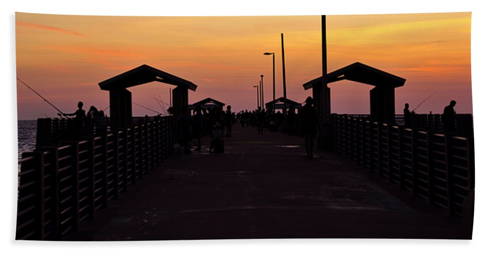 Fine Art Photography Hand Towel featuring the photograph Pier Work Number Six by David Lee Thompson