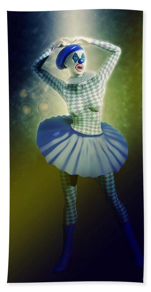 Pierrette Bath Sheet featuring the digital art Pierrette At The Opera by Joaquin Abella
