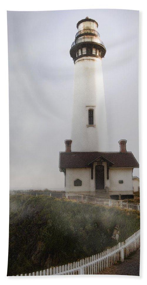 Ocean Bath Sheet featuring the photograph Pigeon Point Lighthouse by Karen W Meyer