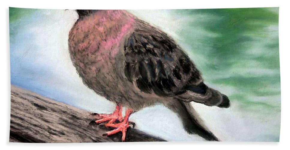 Pigeon Bath Sheet featuring the painting Pigeon Toes by Minaz Jantz