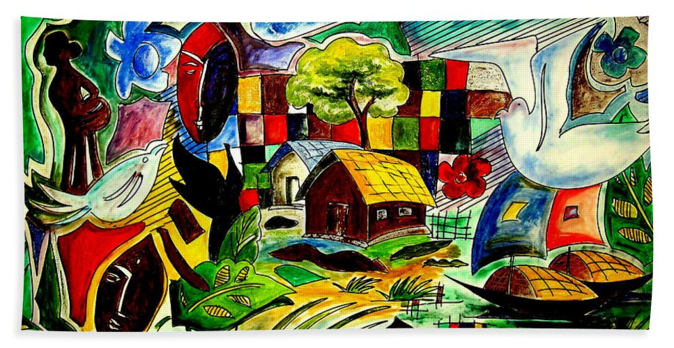 Landscape Hand Towel featuring the painting Pigeons Dream by Asm Ambia Biplob