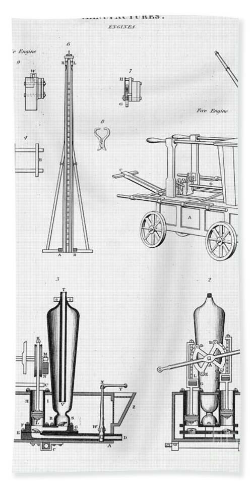 Historic Hand Towel featuring the photograph Pile Driver, Fire Engine, Steam Engine by Wellcome Images