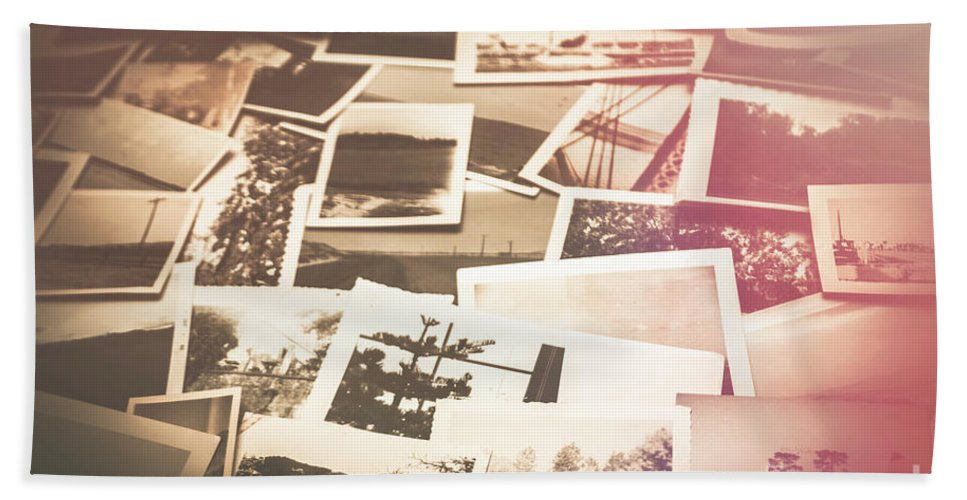 Vintage Bath Towel featuring the photograph Pile Of Old Scattered Photos by Jorgo Photography - Wall Art Gallery