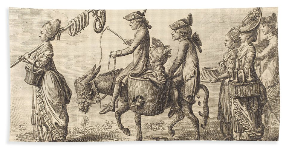 Hand Towel featuring the drawing Pilgrimage To French Bucholz by Daniel Nikolaus Chodowiecki