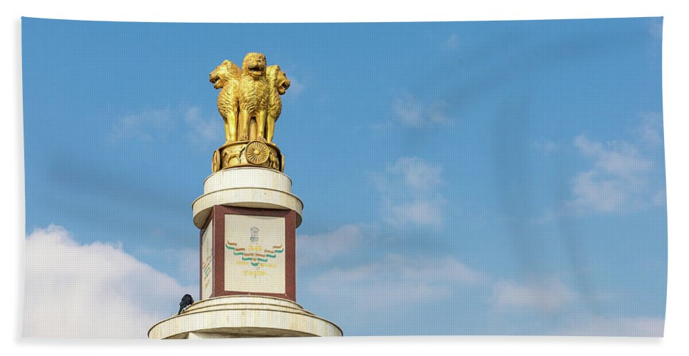 Asia Hand Towel featuring the photograph pillar for the 50th anniversary of India, Chennai, Tamil Nadu by Henning Marquardt