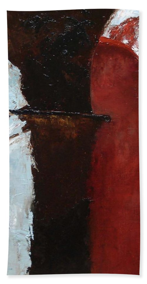 Pillars Hand Towel featuring the painting Pillars Of Society by Barbara Andolsek