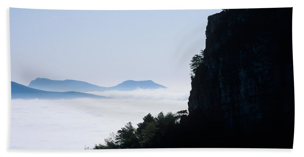 Nature Bath Sheet featuring the photograph Pilot And Sauertown And Hanging Rock Mountains by John Harmon