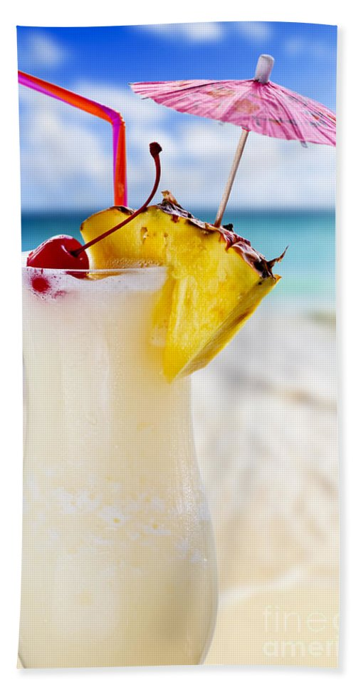 c7d9b75167 Pina Colada Bath Towel featuring the photograph Pina Colada Cocktail On The  Beach by Elena Elisseeva