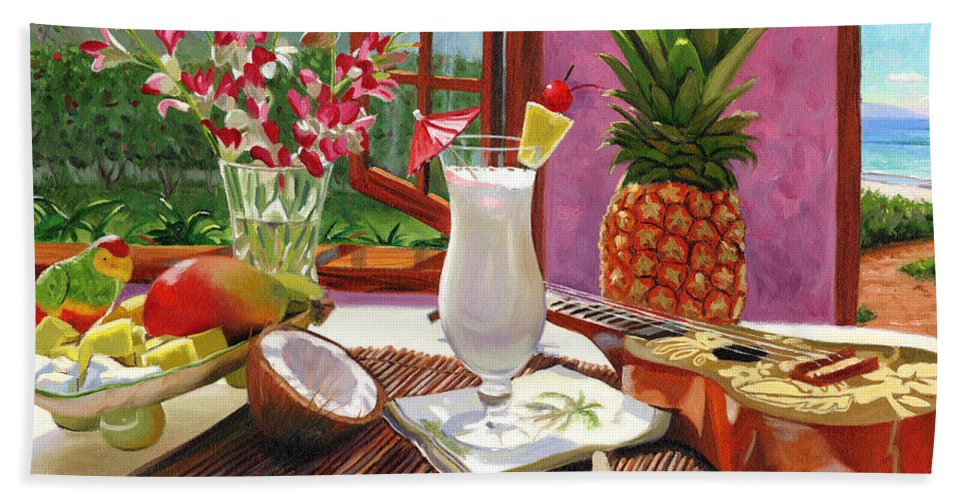 Pina Colada Bath Sheet featuring the painting Pina Colada by Steve Simon