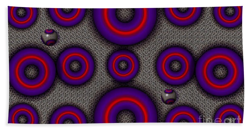 Abstract Hand Towel featuring the digital art Pinball by Ron Bissett