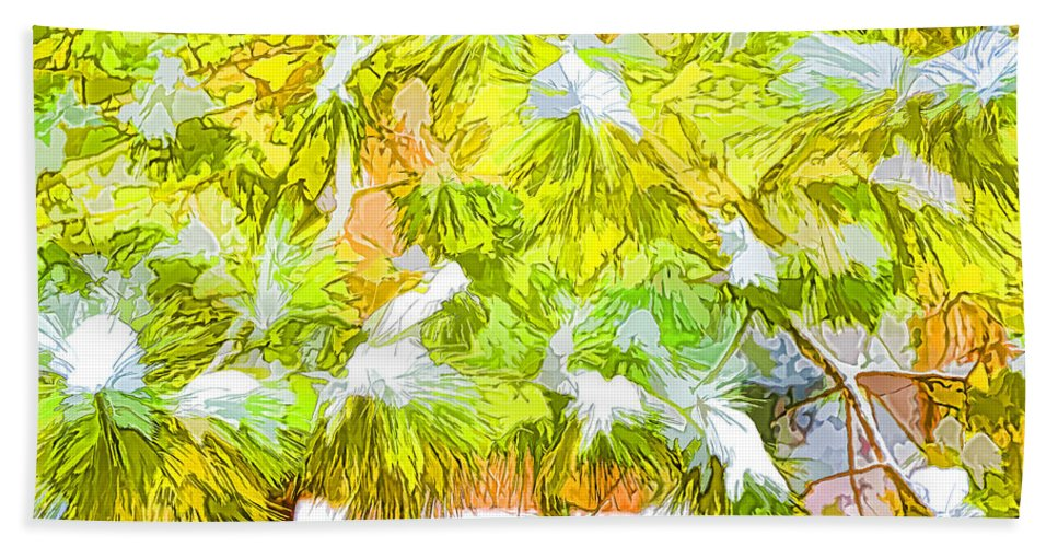 Frost Hand Towel featuring the painting Pine Branch Under Snow by Jeelan Clark