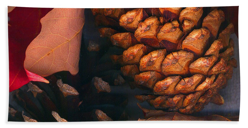 Pine Cones Bath Towel featuring the photograph Pine Cones And Leaves by Nancy Mueller