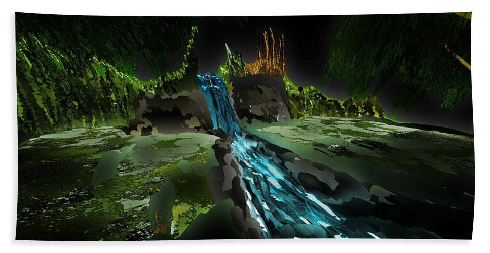 Pine Trees Bath Sheet featuring the digital art Pine Falls by Kab