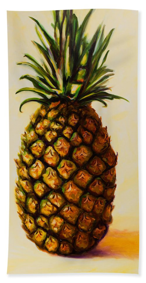 Pineapple Bath Towel featuring the painting Pineapple Angel by Shannon Grissom