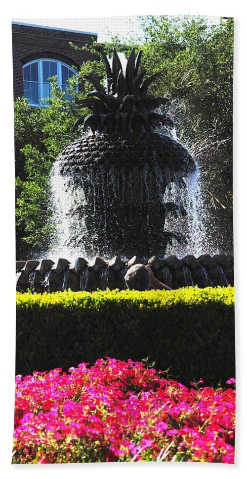 Photography Bath Sheet featuring the photograph Pineapple Fountain Charleston Sc by Susanne Van Hulst