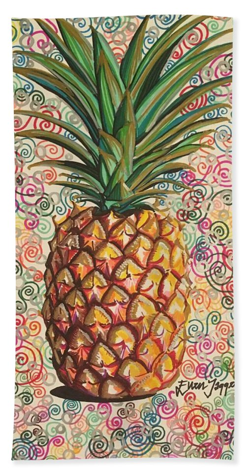 Pineapple Bath Sheet featuring the drawing Pineapple Pattern by Ellen Jagger