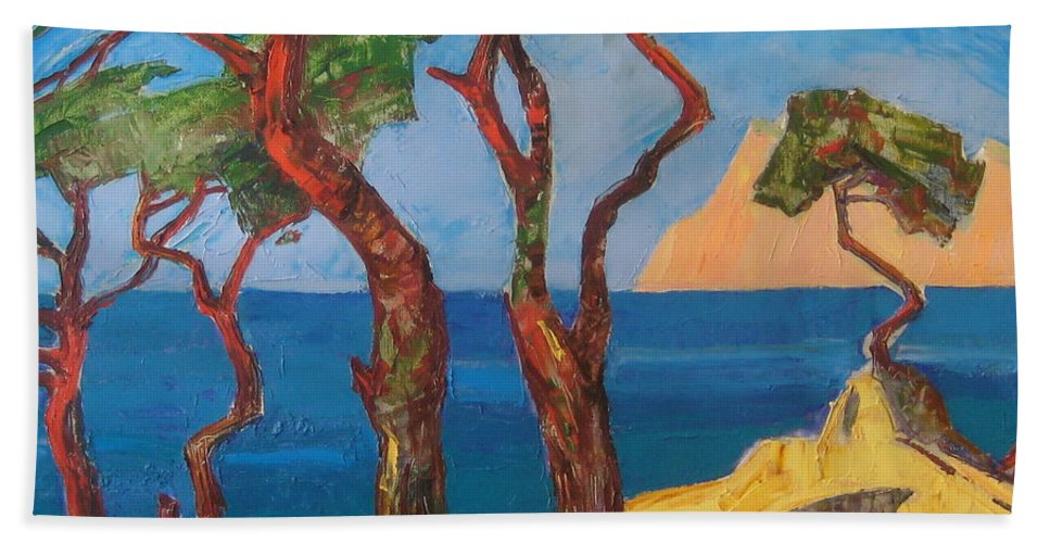 Landscape Bath Sheet featuring the painting Pines Of The Silver Beach by Sergey Ignatenko