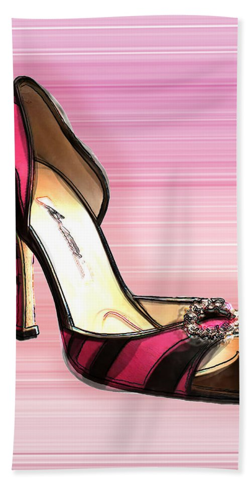 Shoes Heels Pumps Fashion Designer Feet Foot Shoe Hand Towel featuring the painting Pink And Black Stripe Shoe by Elaine Plesser