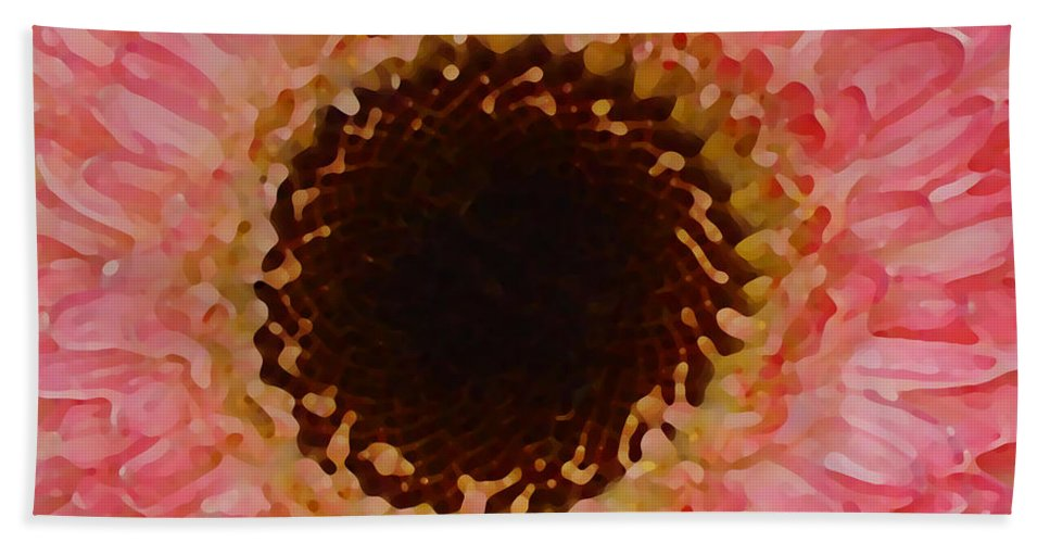 Daisy Bath Towel featuring the painting Pink And Brown Gerber Center by Amy Vangsgard