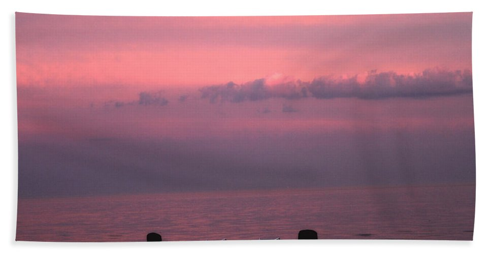 Coastal Bath Sheet featuring the photograph Pink And Deserted by Karol Livote