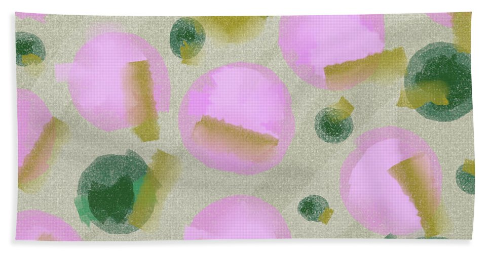 Pink Hand Towel featuring the painting Pink And Green Inspiration by Studio Brinomi