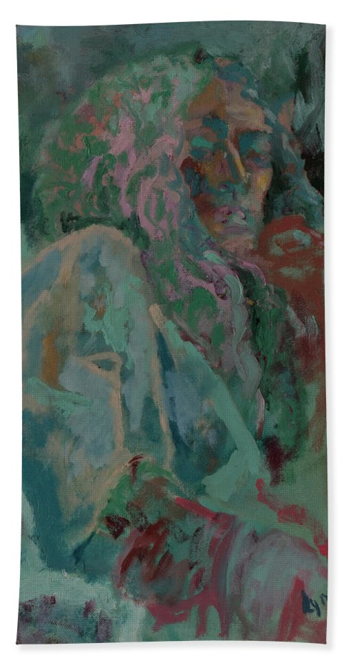 Portrait Hand Towel featuring the painting Pink And Green Portrait by Lynne Guess