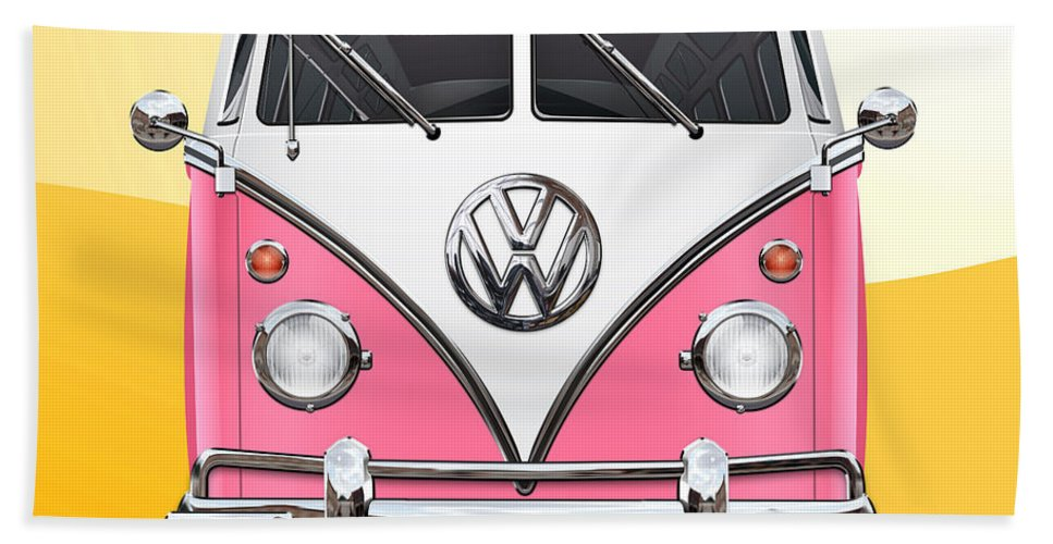 'volkswagen Type 2' Collection By Serge Averbukh Bath Towel featuring the photograph Pink and White Volkswagen T 1 Samba Bus on Yellow by Serge Averbukh