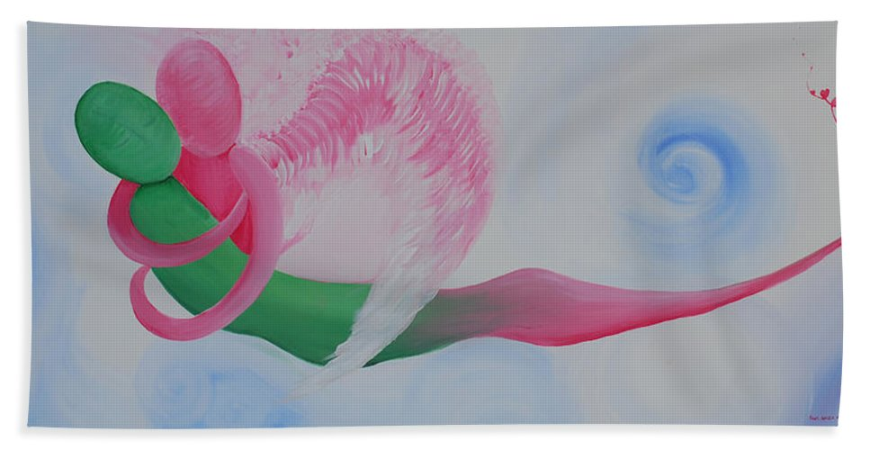 Pink Angel Bath Sheet featuring the painting Pink Angel Of Unconditional Love by Catt Kyriacou