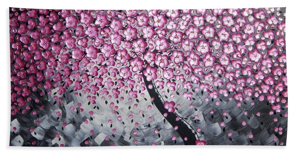 Painting Bath Sheet featuring the painting Pink Blossoms by Ilonka Walter