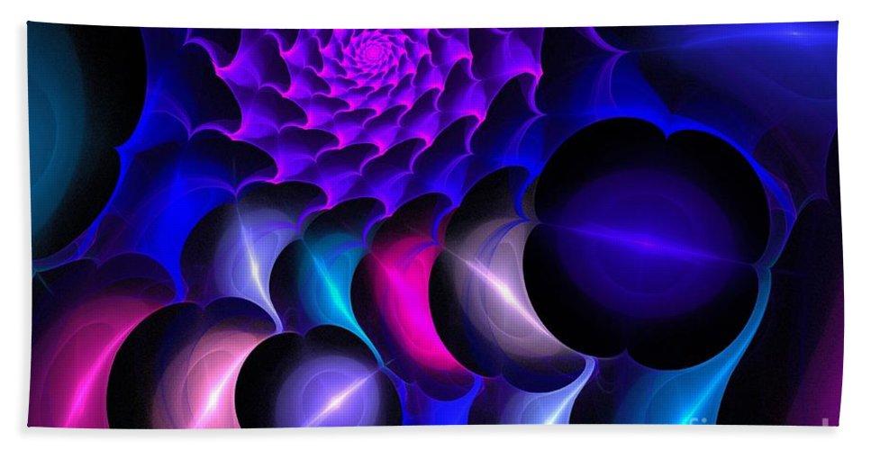 Apophysis Bath Sheet featuring the digital art Pink Blue Bubbles by Kim Sy Ok