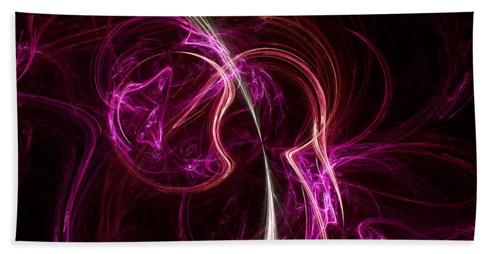 Fractal Hand Towel featuring the digital art Pink Blume by Susan Kinney