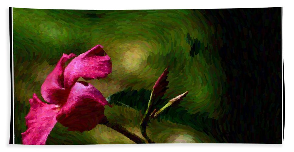 Flower Hand Towel featuring the photograph Pink Bud by Leslie Revels