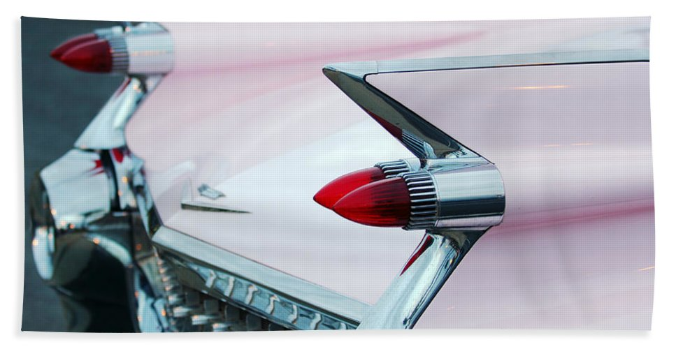 Car Bath Sheet featuring the photograph Pink Cadillac Eldorado Tail Fin by Jill Reger