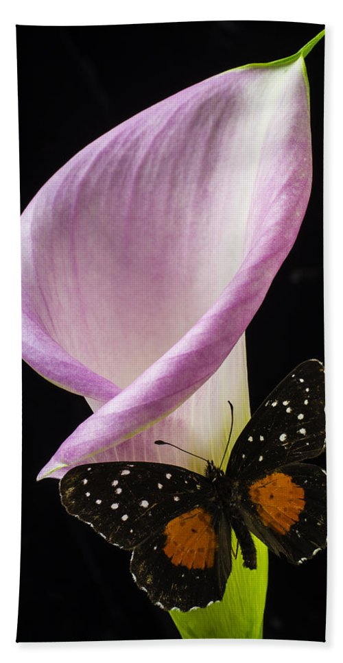 Pink Calla Lily Hand Towel featuring the photograph Pink Calla Lily With Butterfly by Garry Gay