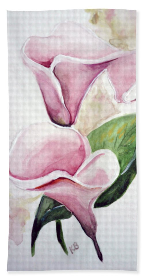 Botanical Painting Pink Paintings Calla Paintings Lily Paintings Flower Paintings Floral Paintings Flora Pink Flower Lily Hand Towel featuring the painting Pink Callas by Karin Dawn Kelshall- Best