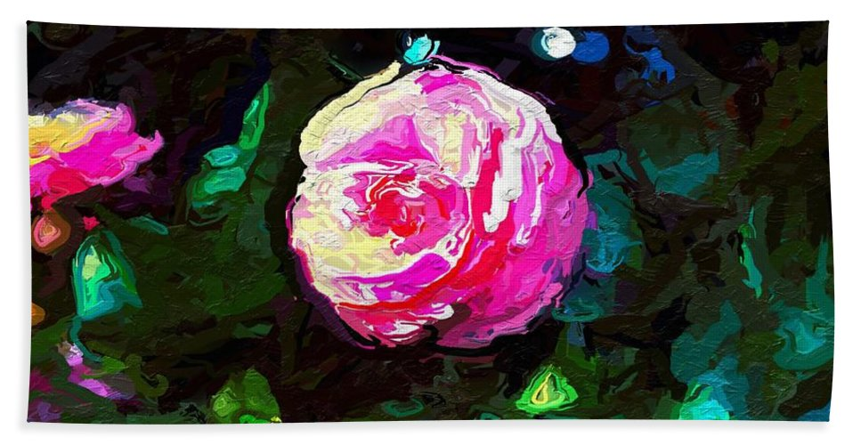 Mark J Dunn Bath Sheet featuring the photograph Pink Camille,nishishinjuku by Mark J Dunn